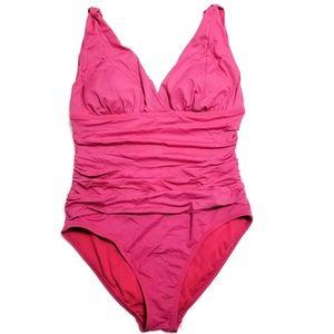 Liz Claiborne bright pink ruched swimsuit